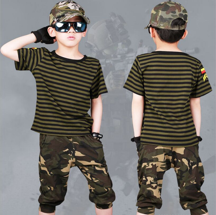 2018 New Children Sets Boys Summer Camouflage Striped Short Sleeve T-Shirt + Shors 2 Piece Hip-Hop Kids Clothes Fit 4-11T
