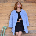 2016 Knit Mink Fur Coat for Women Long Sleeve Natural Genuine Russian Fur Outerwear O-Neck Long Slim Fashion Mink Coat S-XXL