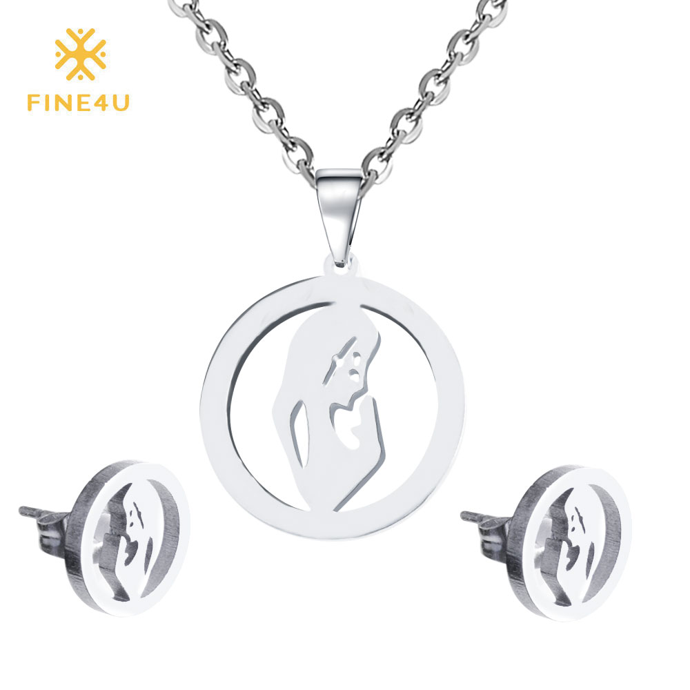 <font><b>2019</b></font> New FINE4U N084 316L Stainless Steel Virgin Mary <font><b>Jewelry</b></font> <font><b>Sets</b></font> <font><b>For</b></font> Women Necklace & Earrings <font><b>Sets</b></font> Wedding Bridal <font><b>Jewelry</b></font> <font><b>Set</b></font> image