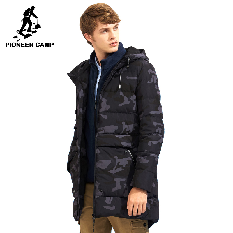 Pioneer Camp long camouflage down jacket men brand clothing fashion winter thick warm duck down coat male top quality AYR705309