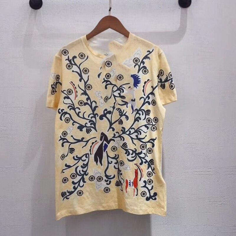 100% chemises en coton de haute qualité décontracté Planète Débardeur Imprimé Manches Courtes Haut Récolte T-Shirt d'été hauts pour femmes 2019