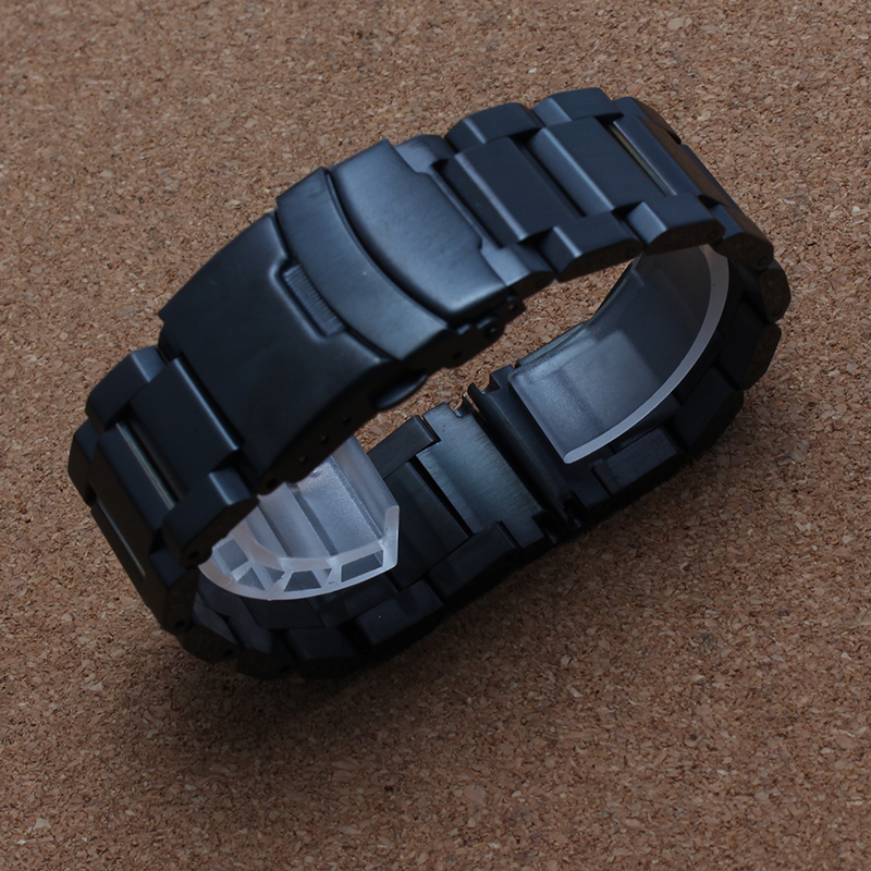 18mm 20mm 22mm Black Gold Watchbands for quartz Watches men Safety Buckle clasps Stainless steel Watch strap bracelet promotion