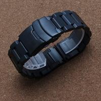 18mm 20mm 22mm Schwarz Gold Uhrenarmbänder für quarzuhren männer Sicherheit Wölbung umklammert edelstahl armband armband förderung-in Uhrenbänder aus Uhren bei