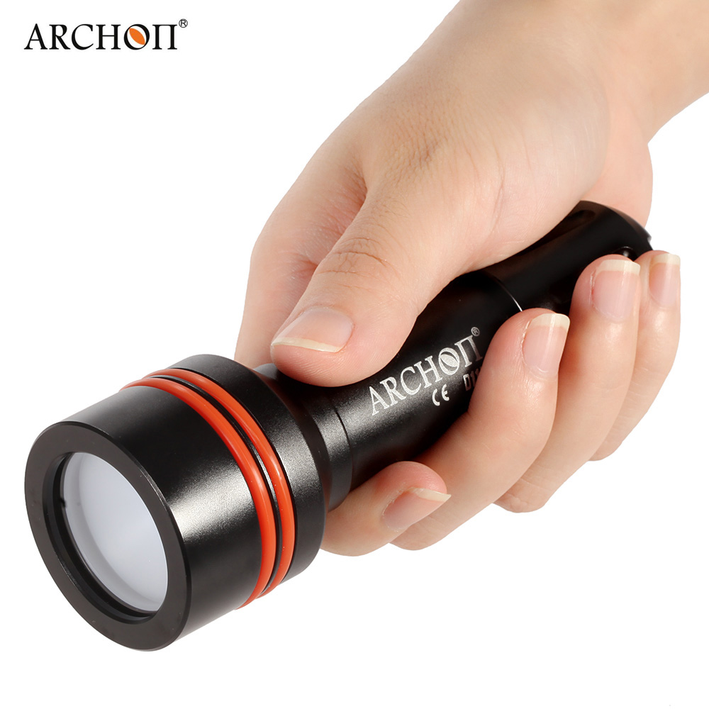 ARCHON D11V 860Lumens Cree XM-L 3Modes Diving LED Flashlight Lamp Torch Photography Fill Light with 18650 Rechargeable Battery uniquefire 5 modes t20 cree xml2 rechargeable led flashlight 1200 lumens lamp power for 18650 battery charger