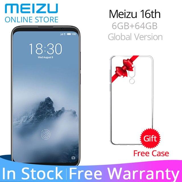 """Глобальная версия Meizu 16th 6 ГБ оперативная память 64 Встроенная оригинальный Android-телефон Snapdragon 845 Octa Core 6,0 """"двойной сзади камера AI уход за кожей лица разблокировать"""