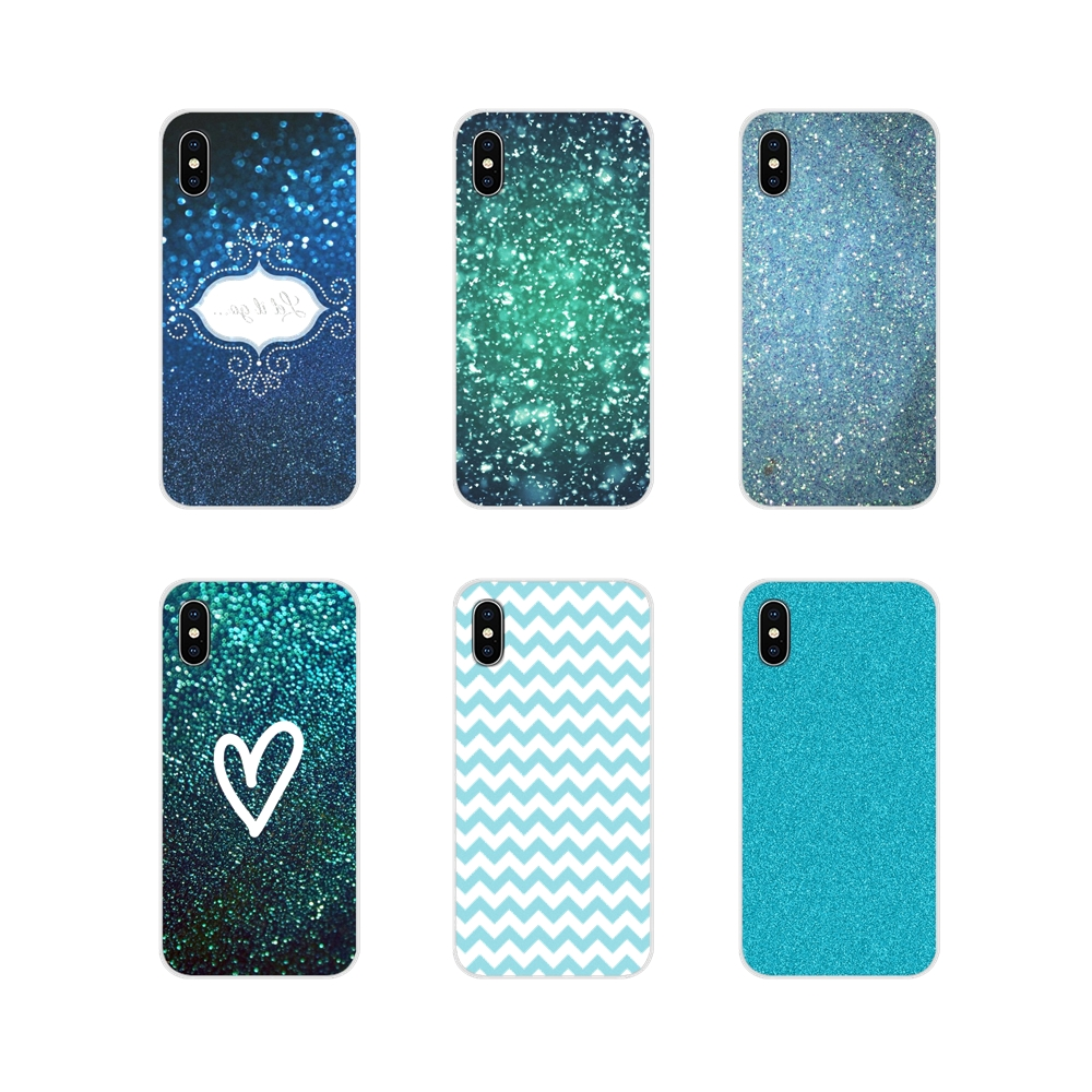 Soft Transparent <font><b>Case</b></font> Covers For Xiaomi Redmi Note 6A MI8 Pro S2 A2 Lite Se MIx 1 Max 2 <font><b>3</b></font> For <font><b>Oneplus</b></font> <font><b>3</b></font> 6T Teal Blue <font><b>Glitter</b></font> Art image