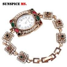 SUNSPICE – montre-Bracelet rétro pour femmes, couleur or, lien turc, avec strass, style traditionnel, bijoux de mariage, nouvelle collection