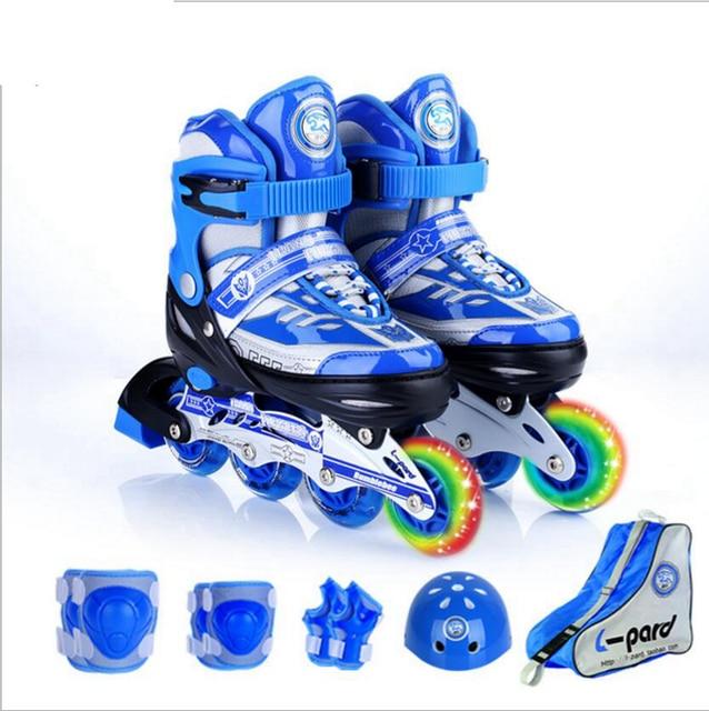 16771bbe593d Children Adjustable Inline Speed Skating Shoes Kids Two Line One line Flash  Wheels Roller Skate