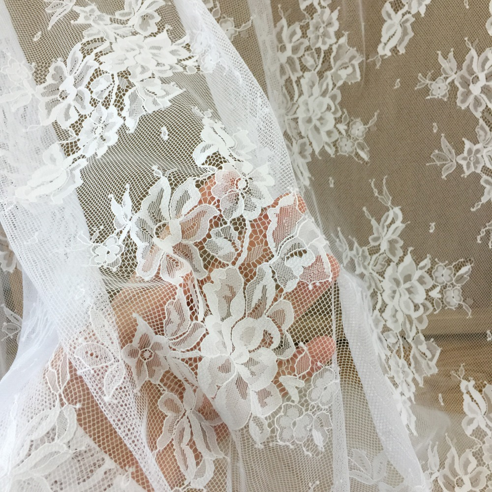 Wedding Gown Fabrics Guide: 5 Yards/lot Elegant Eyelet Floral Chantilly Lace Fabric
