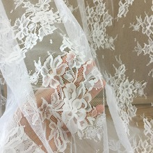 5 yards/lot Elegant Eyelet Floral Chantilly Lace Fabric for Wedding Gown Prom Dress Bridal Lining Outfits160cm wide