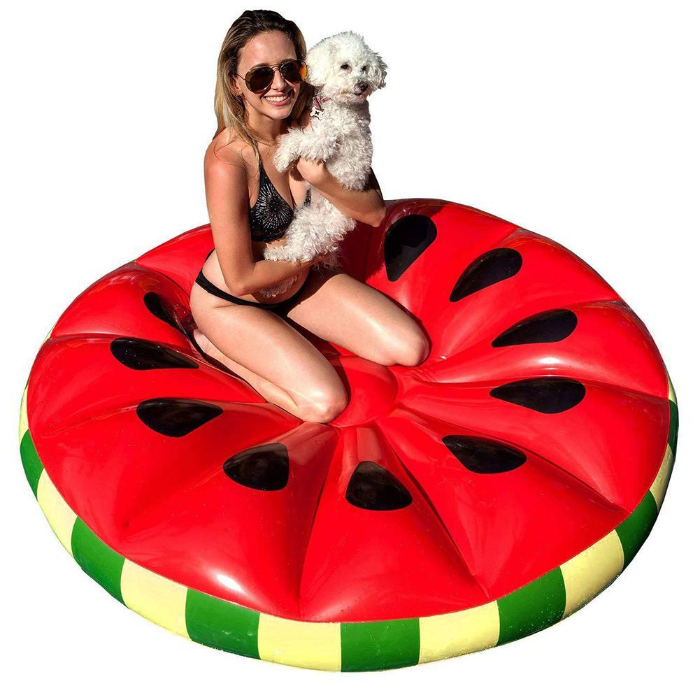 Jouets gonflables de l'eau chaude ronde pastèque flottante rangée vacances adulte lit flottant chaise longue de l'eau de Fruit flottant