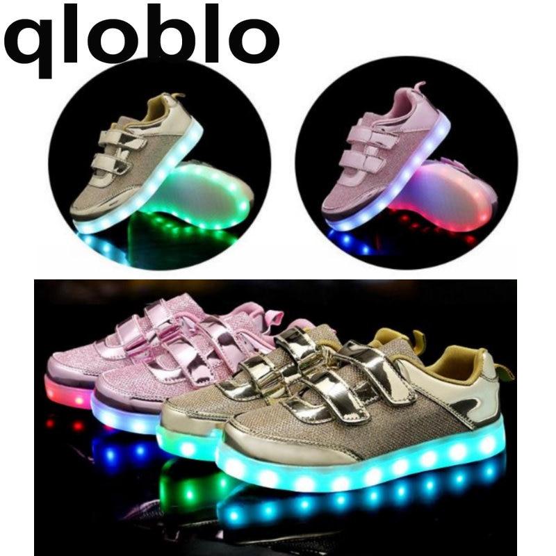 qloblo USB Glowing Girls Boys Sneakers Basket Led Children Lighting Shoes illuminated krasovki Luminous Sneakers