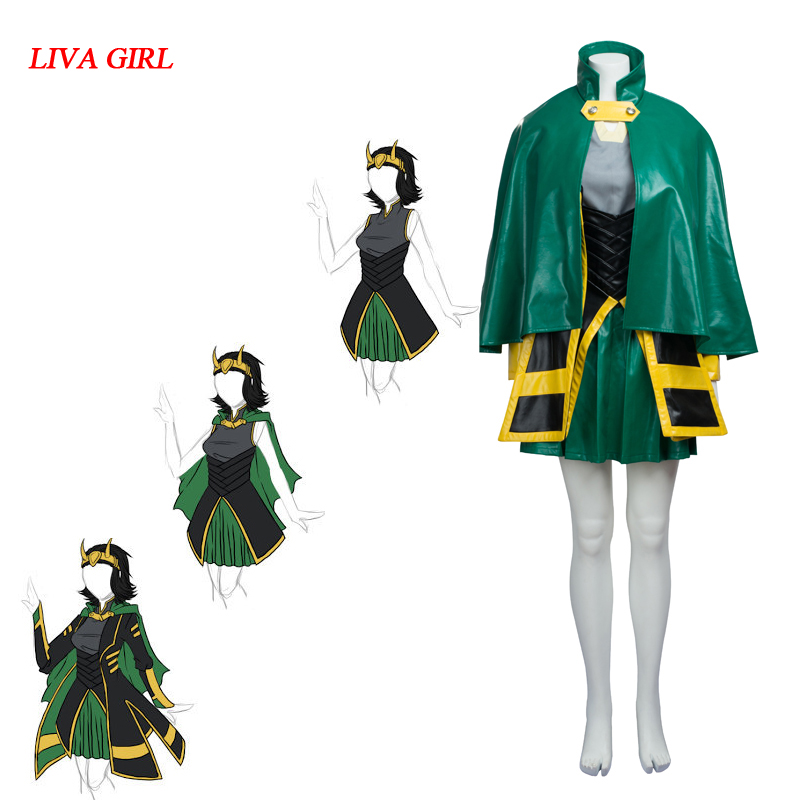 Movie Thor The Avengers Cosplay Costume Women's Loki Costume Halloween Customized Costumes