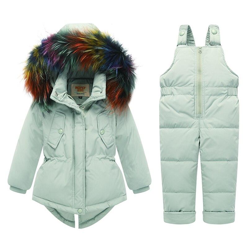 2018 Winter Baby Children Clothing Sets Warm Duck Down Jacket Kids Suit Fur Collar For Girl Children Coat Snow Wear цена