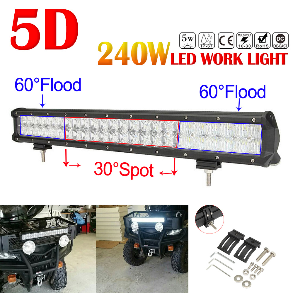 240W 23 inch Car LED Worklight Bar 5D 48x Chips Combo Offroad Light Driving Lamp for Truck SUV 4X4 4WD ATV 1 3 megapixel 960p ip dome camera hd poe p2p onvif video surveillance 2 8 12mm varifocal lens cctv security camaras cftv