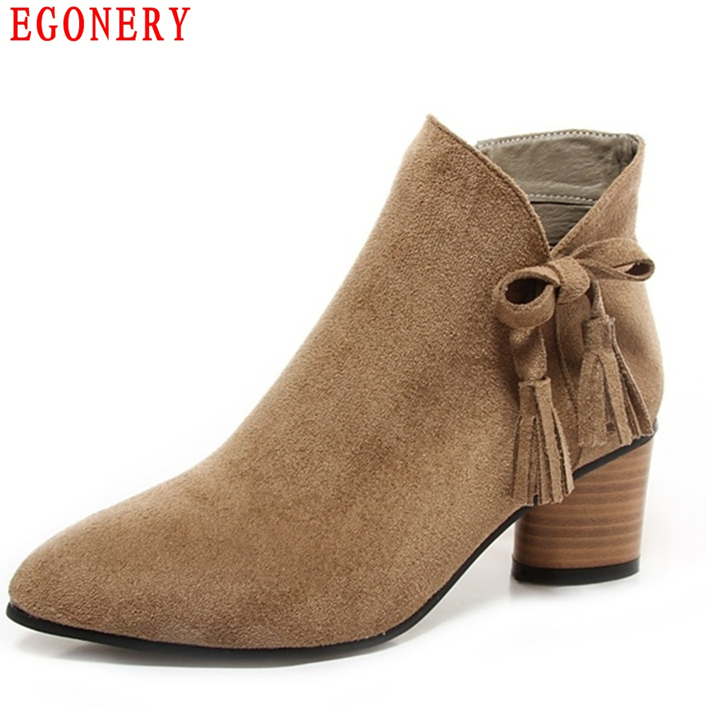 EGONERY New Pointed Toe Square Heels Suede Nubuck Spring Autumn Fashion Ankle Womens Shoes Boots Woman egonery quality pointed toe ankle thick high heels womens boots spring autumn suede nubuck zipper ladies shoes plus size