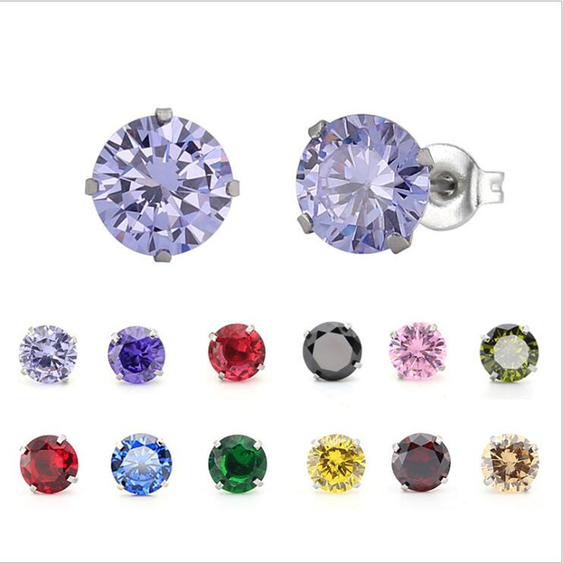 PE84 Titanium Zircon Stud Earrings 6MM Round Colorful Crystal Earring Stainless Steel Jewelry in Stud Earrings from Jewelry Accessories