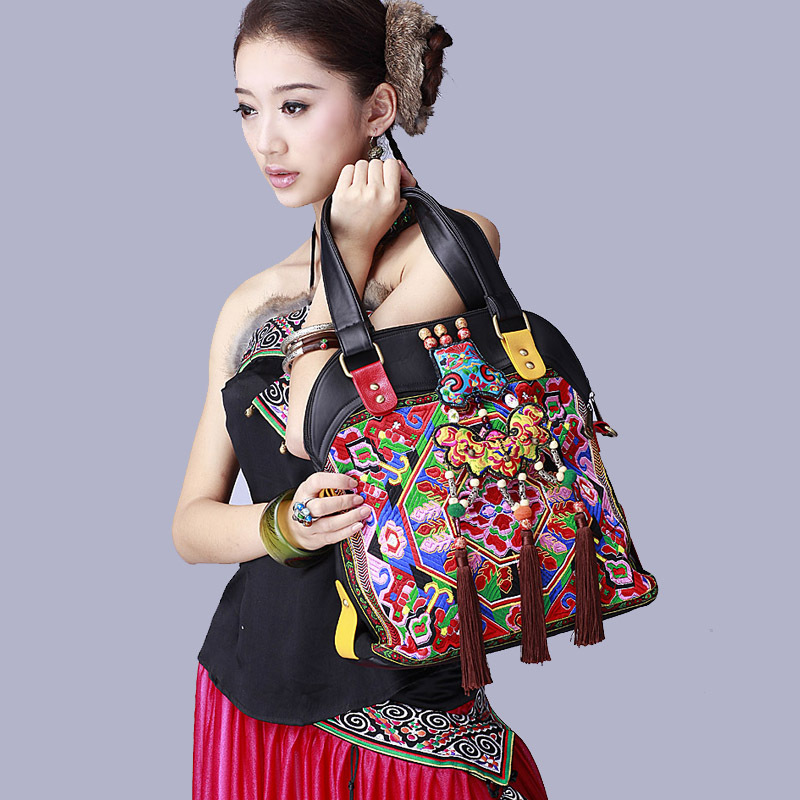 Brand black pu leather women bags Ethnic embroidered handmade tassels shoulder bags ethnic women s embroidered skirt