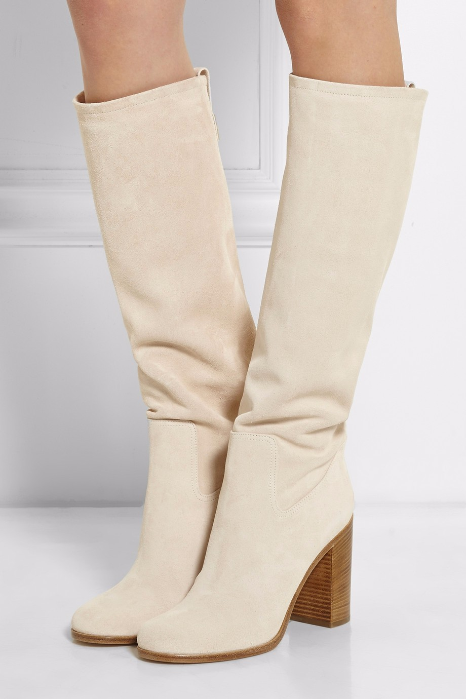 Gullick Beige Fabric Women Boot Round toe Chunky Heel Slip-on Knee-high Women Winter Long Boots Runway Dress Shoes Real Photo