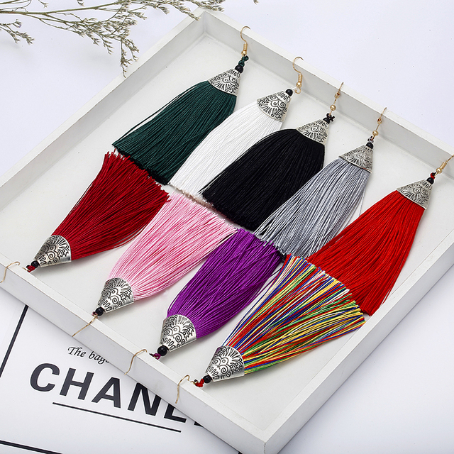 Vintage Bohemian  Long Silk Tassel Earring Women Rhinestone Charm Stainless Steel Dangle Drop Earring For Wedding Jewelry E0478