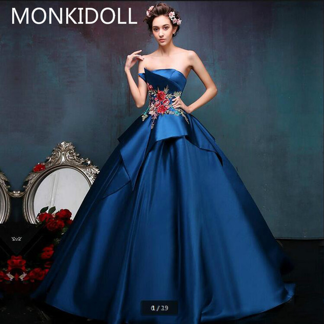 beb8458ff8 2016 gorgeous real picture lace appliques navy blue prom dress new princess  ball gown corset prom gowns best selling