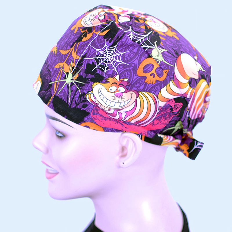 Purple Tiger Print Surgical Scrub Hat Handcrafted Medical Cap Nursing Caps Pattern Printable 100% Cotton With Sweatband