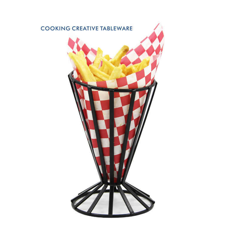 Restaurant American Creative Tableware Iron French Fries Frame Snack Shelf  Potato Chip Basket Fried Chicken Tray Holder 1pcs