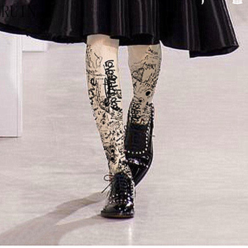 RUIN women s tights Personality graffiti black print pantyhose female girl tights