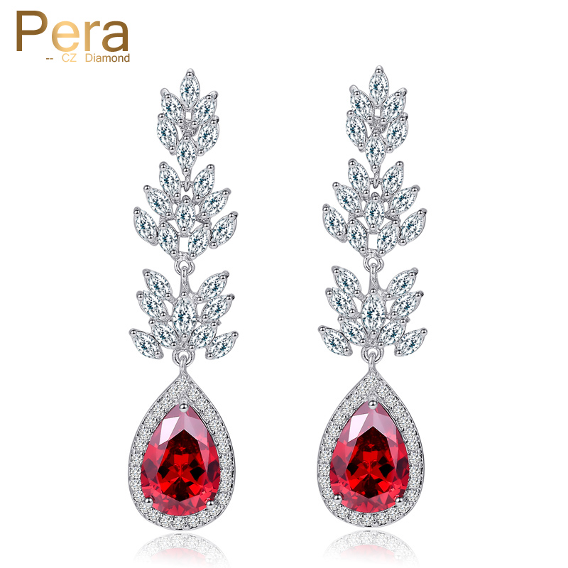 Pera New Arrival Bridesmaids Crystal Costume Jewelry Accessories India Red Cubic Zircon Big Water Drop Earrings For Women E231 boneco air o swiss 2055d