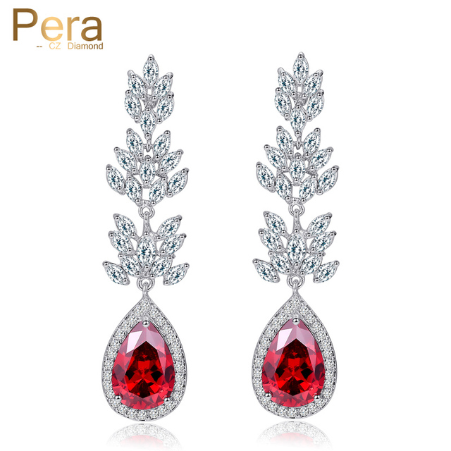 Pera New Arrival Bridesmaids Crystal Costume Jewelry Accessories India Red Cubic Zircon Water Drop Earrings
