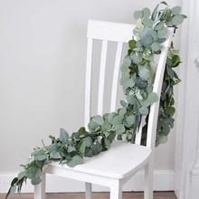 Свадебные украшения искусственные растения зеленые эвкалиптовые лозы из ротанга искусственные растения плющовый венок Настенный декор вертикальный сад