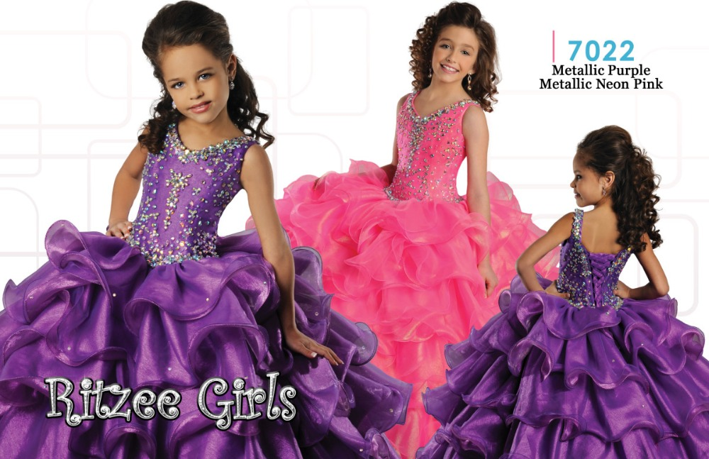 Most Lovely Ball Gown Tiered Purple Pink Organza   Flower     Girls     Dress   With Straps Crystal Beaded V Neck Pageant   Girls   Gowns