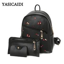 3 шт. женщины рюкзак женский Вышивка композиционной кожи PU Рюкзаки для девочек-подростков Дизайнер Высокое качество школьная сумка комплект