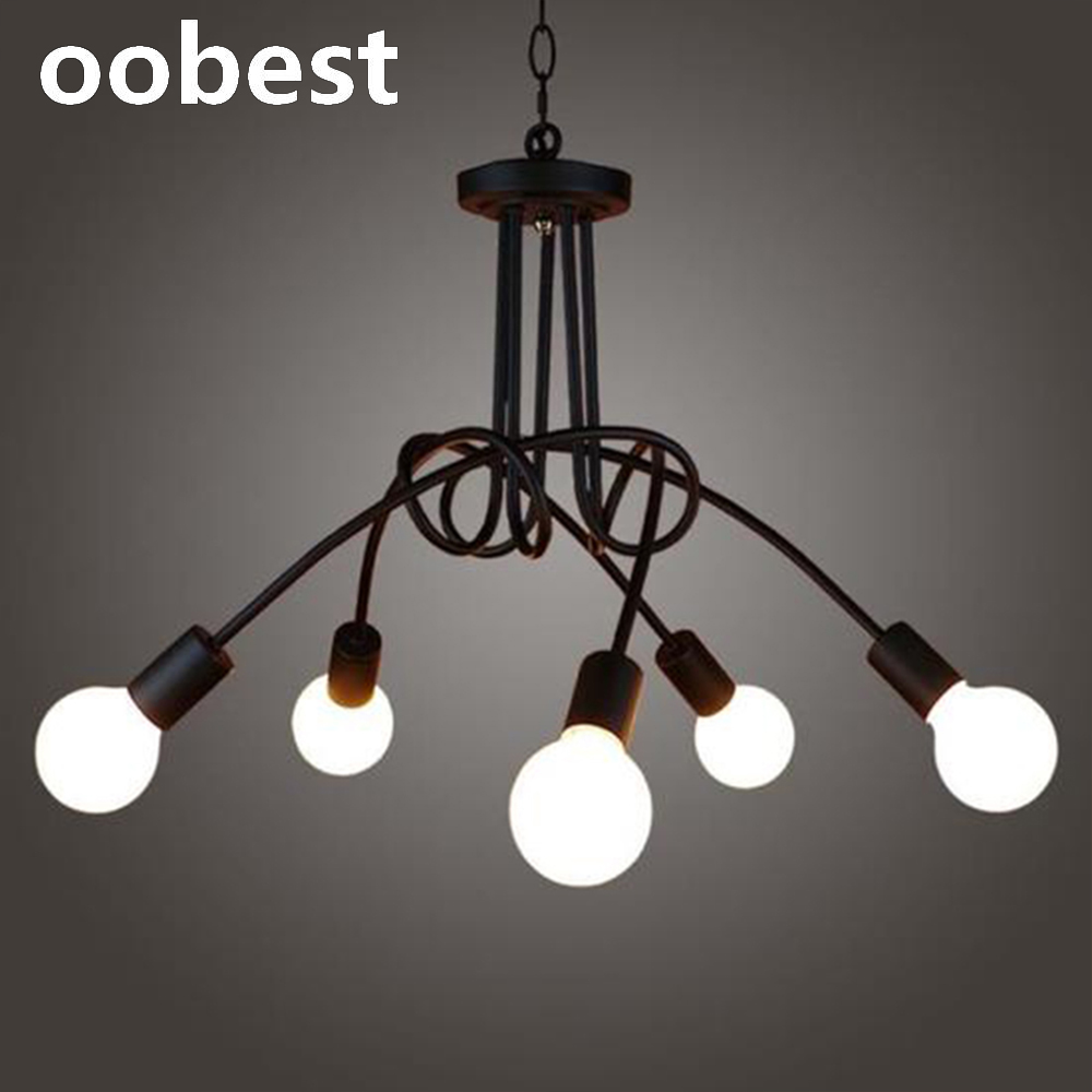 oobest Retro Industrial Style Black 5 Heads Bending Iron Spotlights Suspension Ceiling Lights High Quality Dining Room Study retro matte black iron ceiling light american industrial iron lights