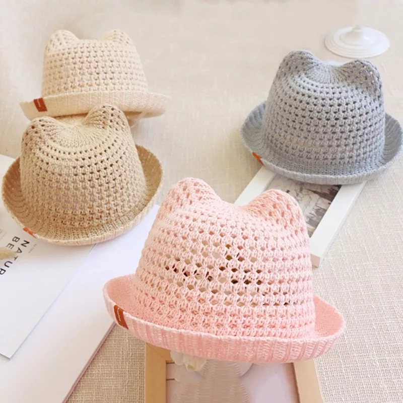 2019 New Children Cat Ears Sunshade Hat Summer Boys  Pots Hats Kids Sun Hats Flanging Baby Spring And Autumn Sun Protection