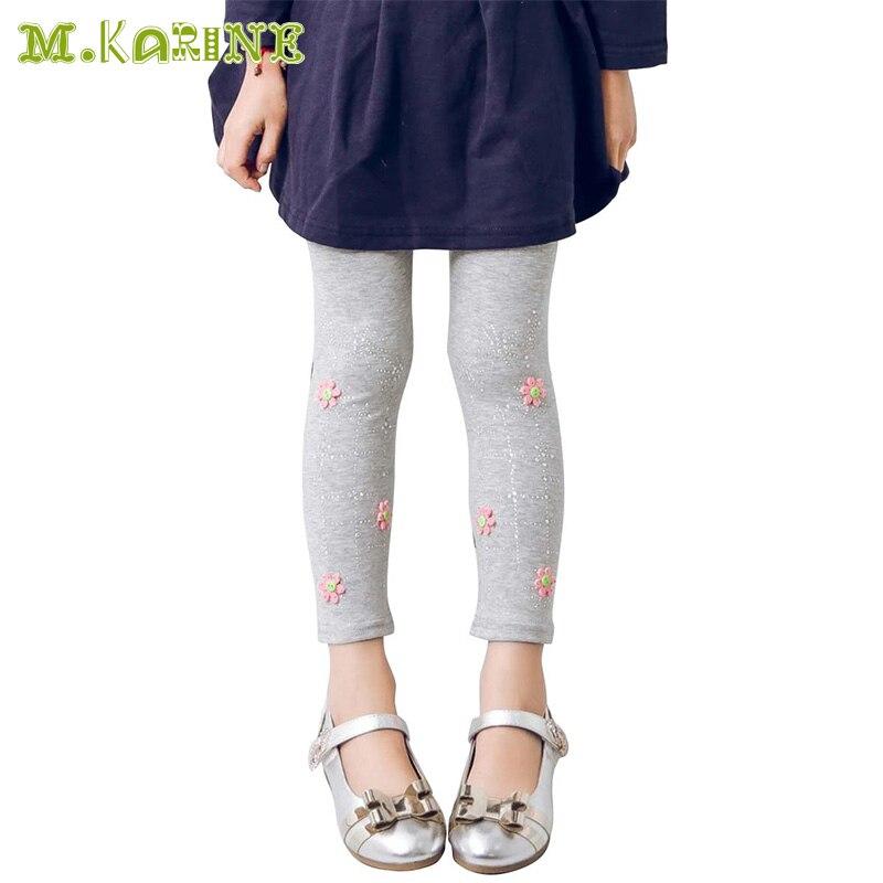 Free Shipping Girls Leggings Spring Designer Child Rhinestone Flower Decoration Kids Pants for Girl Skinny Elastic Legging Fille
