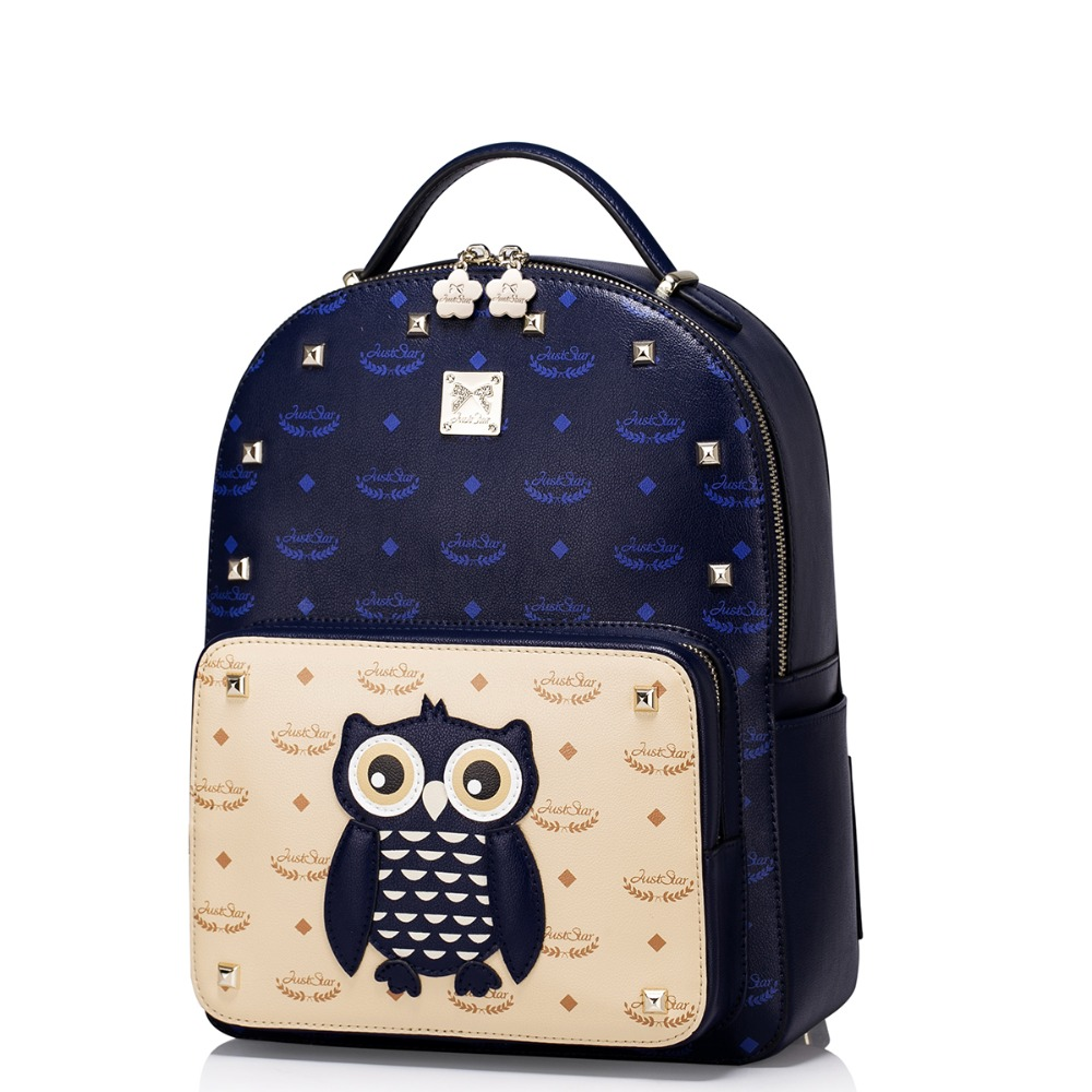 ФОТО Women 2016 New Style Studded Cute Cartoon Fashion Leather Backpack Casual Daypack Rucksack Bag