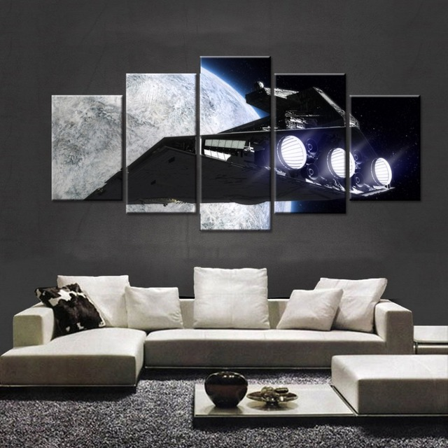 Modular Picture Large Scale Oil Painting Sci Fi Spacecraft Star Wars Movie Game Wallpapers 5
