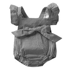 цена на Newborn Bow Fly Sleeve Plaid Striped Print Rompers Infant Cross Strap Backless Jumpsuit Summer Baby Girls Clothes