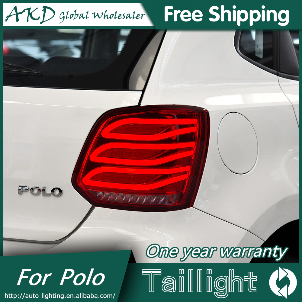 AKD Car Styling for Volkswagen VW POLO TAIL Lights LED Tail Light LED Rear Lamp DRL+Brake Trunk LIGHT Automobile Accessories for vw volkswagen polo mk5 6r hatchback 2010 2015 car rear lights covers led drl turn signals brake reverse tail decoration