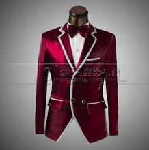 Red 2016 new arrival slim fit men suit set with pants suits for men wedding groom dress double-breasted suit + pant + tie 4XL