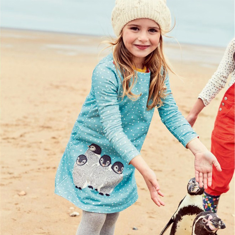 Reine Des Neiges Girls Dress Long Sleeve 2017 Brand Princess Dress Girls Clothes Animal Pattern Children Costumes Kids Dresses girls dresses long sleeve 2017 spring brand kids dress for girls clothes baby infant animal flower princess costumes children
