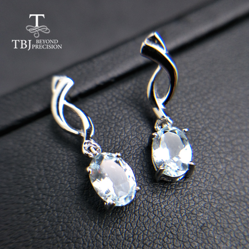 TBJ simple small natural aquamarine gemstone earring in 925 sterling silver lovely earring for women girlfriend
