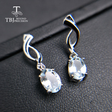 TBJ,simple small natural aquamarine gemstone earring in 925 sterling silver lovely earring for women girlfriend wife with box