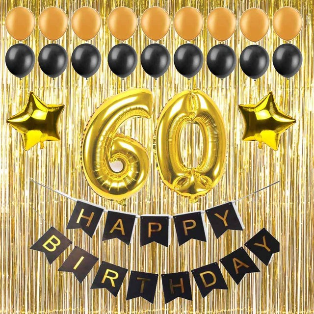 1 Set 30 40 50 60 Years Old Adult Birthday Party Diy Decoration Gift Paper Banner Large Number Balloons Gold Metallic Curtain