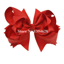 $1/1PCS 5 inches 3 Layers Solid Red Kids Bows With 6cm Clips Boutique Ribbon Bows For Girls Hair Accessories