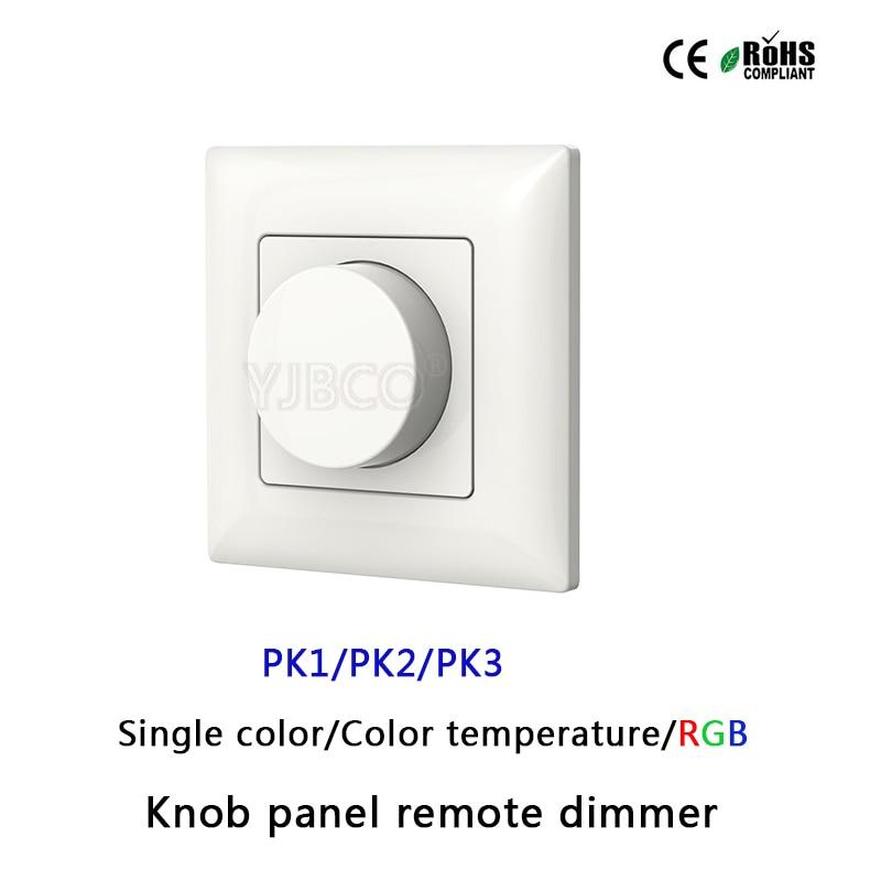 Pk1/pk2/pk3 2,4g Wand Montiert Knob Panel Führte Dimmer Fernbedienung Für Einzelne Farbe/farbe Temperatur/rgb Led Streifen Licht Hohe Belastbarkeit Beleuchtung Zubehör