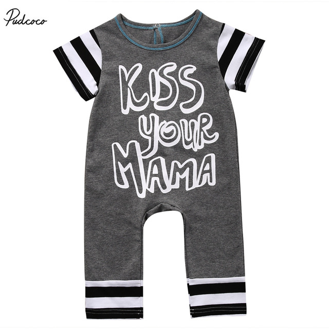 Image of: Kiss Your Mama 2017 New Summer Newborn Kids Baby Boys Girls Short Sleeve Romper Striped Jumpsuit Clothes Outfits Aliexpress Kiss Your Mama 2017 New Summer Newborn Kids Baby Boys Girls Short