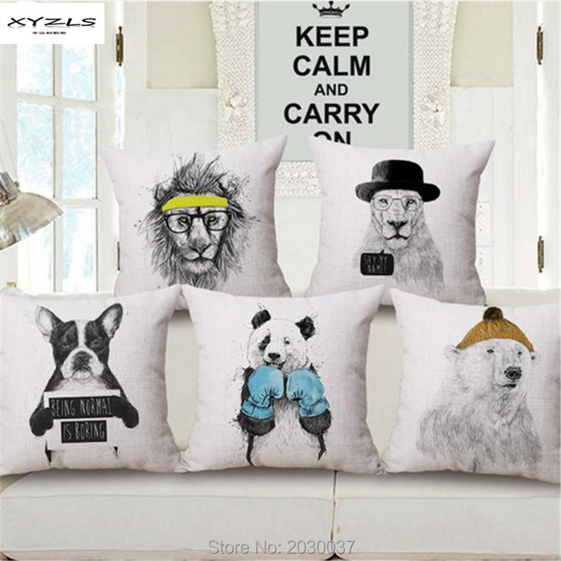 Sofa Free Shipping Europe Demilune Table Xyzls Style Sketch Animals Cushion 45x45cm Square Decorative Cotton Linen Throw Pillows For Home Car