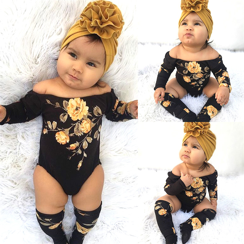 Cute Printing Floral Infant Clothing Outfit Newborn Baby Girl Clothes Set Off Shoulder Long Sleeve Flower Romper + Leg Warmers